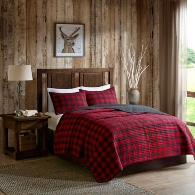 Woolrich Check Reversible Quilt Set in RedBlack  www