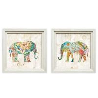 Bohemian Paisley Elephant Framed Wall Art