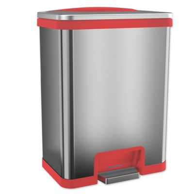 red kitchen trash can small apartment table buy bed bath beyond itouchless tapcan effortless stainless steel 13 gallon in
