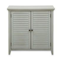 Pulaski Louvered Bathroom Storage Cabinet in Grey - Bed ...