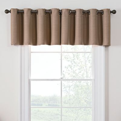 living room window valances color schemes with grey couch buy bed bath beyond antique satin darkening grommet top valance in linen