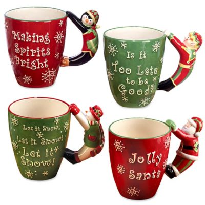 Certified International 3D Handle Novelty Christmas Mugs