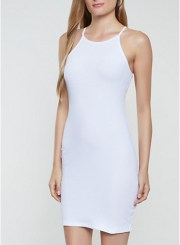 Ribbed Knit Cami Bodycon Dress in White Size: Medium