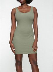 Ribbed Tank Dress in Olive Size: Medium