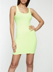 Ribbed Tank Dress in Neon Yellow Size: Medium
