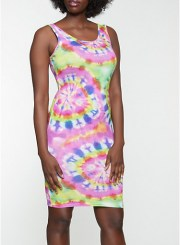 Tie Dye Midi Tank Dress in Pink Size: Medium
