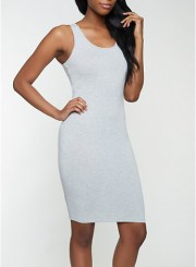 Solid Tank Dress in Heather Size: Medium