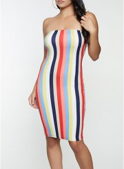 Striped Bodycon Tube Dress Size: Medium