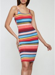 Striped O Ring Tank Dress Size: Medium