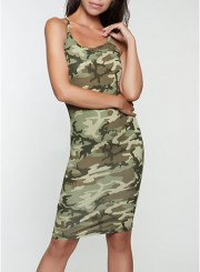 Printed Cami Dress in Olive Size: Medium