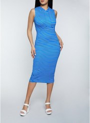 Striped Hooded Dress in Blue Size: Medium