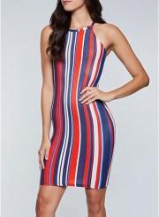 High Neck Striped Tank Dress Size: Medium