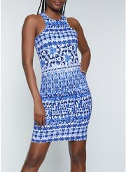Printed Racerback Tank Bodycon Dress in Blue Size: Medium