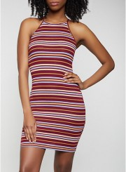 Rib Knit Striped Bodycon Dress in Burgundy Size: Medium