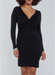 Long Sleeve Criss Cross Dress in Black Size: Medium
