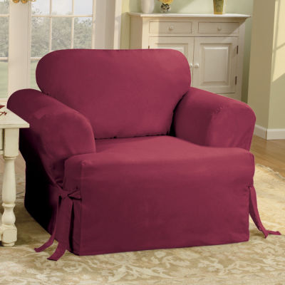 chair slipcover t cushion wooden lounge sure fit cotton duck