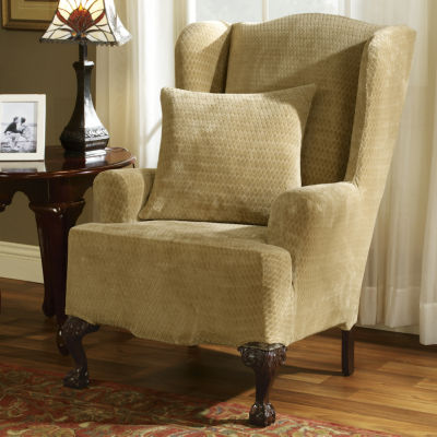 sure fit wing chair slipcover covers and linens royal diamond stretch