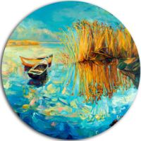 Design Art Colorful Lake with Boats Seascape Circle Metal ...