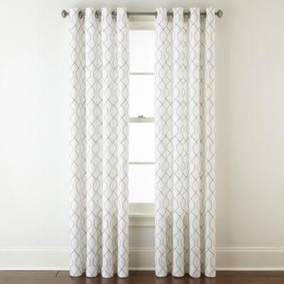 jcpenney home pasadena embroidery light filtering grommet top single curtain panel