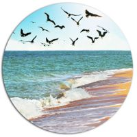 Designart Sea Gulls over the Seashore Seashore Metal ...
