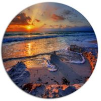 Design Art Beautiful Seashore with Yellow Sun Seashore ...