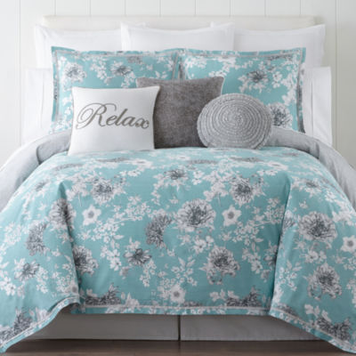 JCPenney Home Pencil Floral 4pc Comforter set  JCPenney