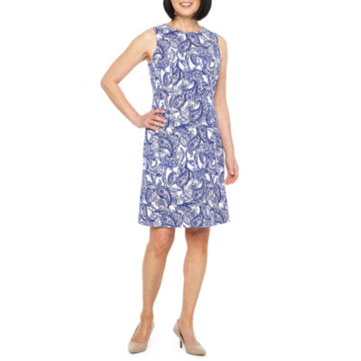 Black label by evan picone sleeveless paisley shift dress also jcpenney rh