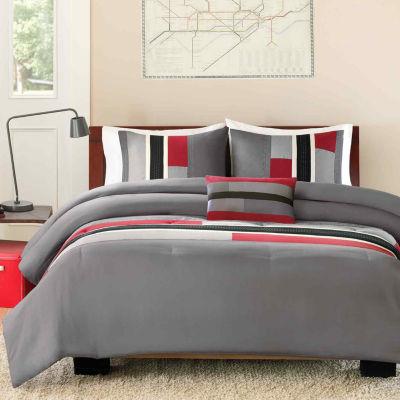 intelligent design colton color block comforter set bonus decorative pillow