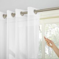 Sun Zero Emily Patio Sheer Grommet-Top Patio Door Curtain ...