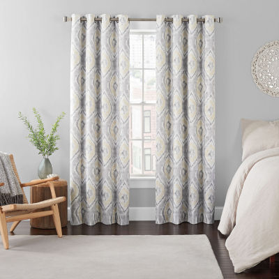 eclipse ambiance ikat draft stopper energy saving 100 blackout grommet top single curtain panel