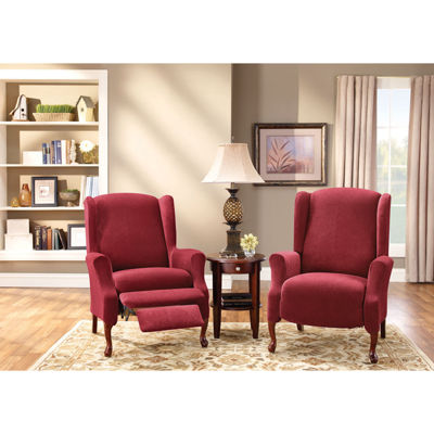 jcpenney dining chair covers lift recliner sure fit® stretch piqué 2-pc. wing slipcover