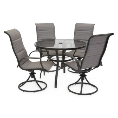 table with swivel chairs dr dimes windsor outdoor oasis 5 pc melbourne round glass patio dining set jcpenney