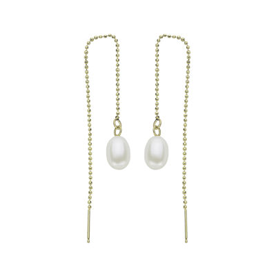 Cultured Freshwater Pearl 14K Yellow Gold Threader Drop