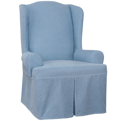 sure fit wing chair slipcover oxo tot sprout authentic denim jcpenney