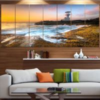 Designart Lighthouse On Beautiful Seashore Seashore Wall ...