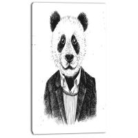 Designart Funny Hipster Panda Black White AnimalCanvas Art