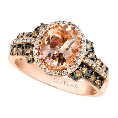 le vian grand sample sale ring featuring peach morganite chocolate diamonds nude diamonds set in 14k strawberry gold