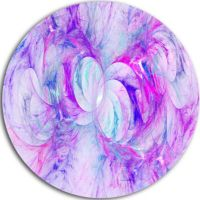 Designart Light Purple Fractal Texture Abstract Round ...