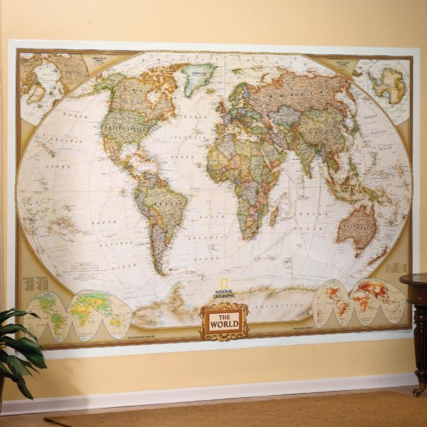 World Executive Wall Map Mural - National Geographic Store