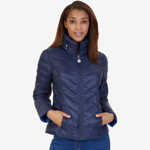 Nautica Womens Reversible Puffer Jacket