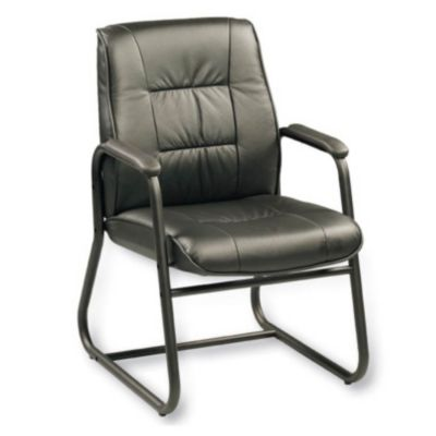 black leather reception chairs glass round table and guest seating officechairs com side chair ch00582