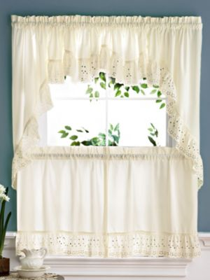 kitchen curtain sets window panels set coordinates coverings blair 4 camelot eyelet