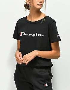 Champion script black crop  shirt also women   clothing teen zumiez rh