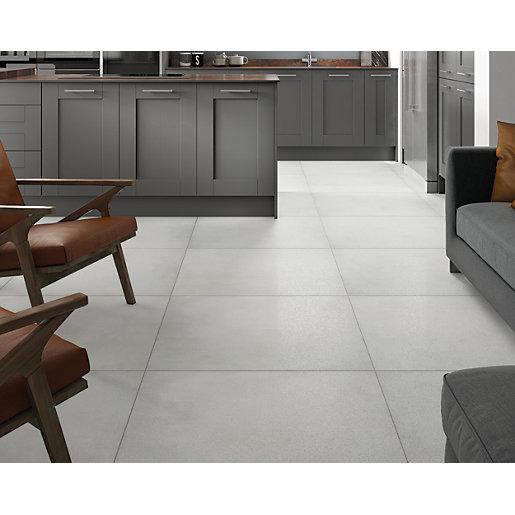 wickes boutique chamonix white glazed porcelain wall floor tile 790 x 790mm