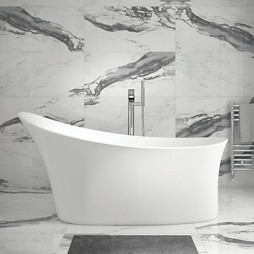 wickes boutique ferrara marble effect glazed porcelain wall floor tile 890 x 442mm