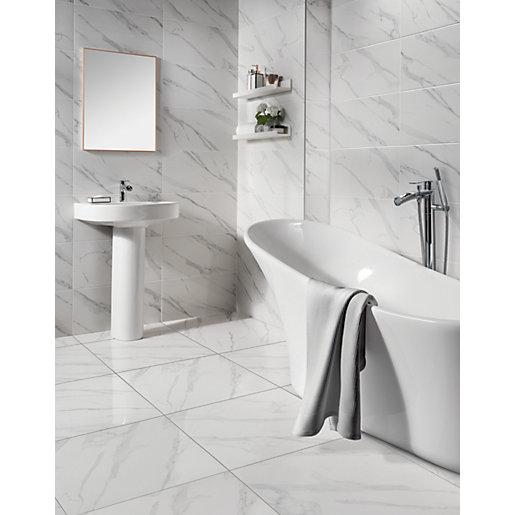 wickes calacatta gloss white marble effect glazed porcelain wall floor tile 605 x 605mm