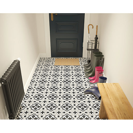 wickes melia charcoal patterned ceramic wall floor tile 200 x 200mm