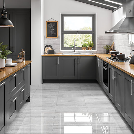 wickes olympia light grey polished stone porcelain wall floor tile 600 x 300mm
