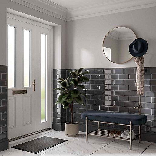 wickes metro grey ceramic wall tile 200 x 100mm