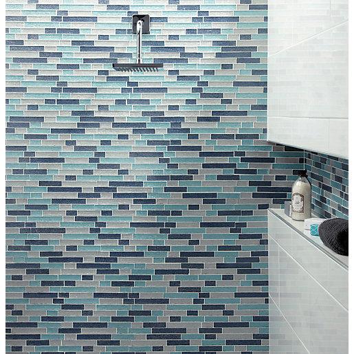 wickes aqua glass linear mosaic tile 300 x 300mm
